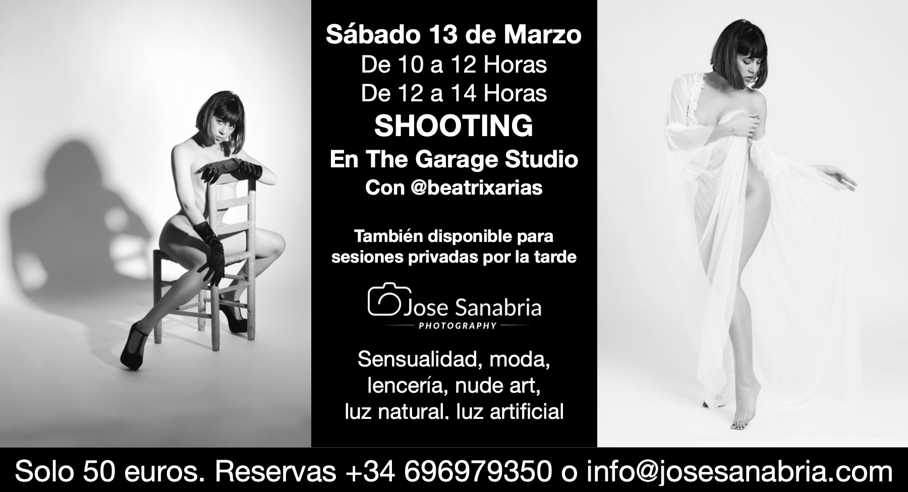 Shooting en The Garage Studio con Beatrix Arias